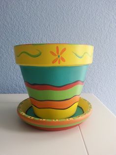 """Hand painted Flower Pot  & Saucer: 6"""" Mexican inspired design. Bright Colors. *  Great for Succulent and Cactus plants *Gift for Gardeners by RaindropsNRoses on Etsy"""