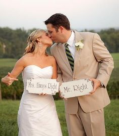 Wedding Signs MR.Right & MRS.Always Right Cottage Photo Props