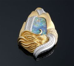 Henry Dunay Boulder Opal and Diamond Waterfall Motif Brooch