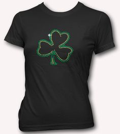 SHAMROCK RHINESTONE T-SHIRT - FUNNY IRISH T-SHIRTS FOR ST. PATRICK'S DAY