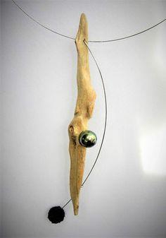 travail sur verre fondu/perles eau douce/bois flotté