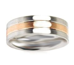 Men's Bio-Cobalt and 10k Rose Gold 7mm Plain Wedding Band: Jewelry: Amazon.com