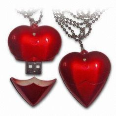 Promotional Wedding USB Flash Drives in Red Color and Heart Shape, Various Capacities are Available
