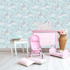 A magical unicorn wallpaper design in pink from the Make Believe Wallpaper Collection. Go Wallpaper UK stock a wide range of Holden Decor wallpaper.