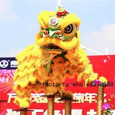Hot Lion Mascot Dance Costume Wool Southern Lion Chinese Folk Art for Two Adults for sale online Game Costumes, Mascot Costumes, Lion Dance Costume, Chinese Lion Dance, Chinese Arts And Crafts, Chinese New Year Dragon, Yellow Theme, Dragon Boat, China