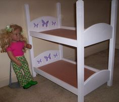 American Girl 18 inch doll size bunk bed with purple butterfly headboard design by cmcraftedtreasures, $45.00