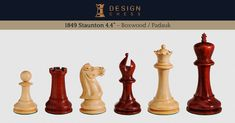 1849 Staunton 4.4 inch chess pieces in boxwood and padauk. These pieces are as close as it is possible to gets to the original, revolutionary Staunton chessmen design from 1849 back then sold by Jaques London. Hand-made in India. A luxury product of Design Chess.