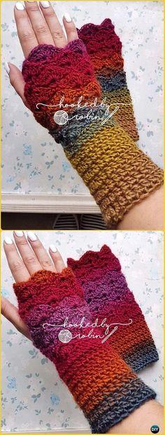 Michelle Crochet Passion: Crochet Fingerless Gloves Wrist Warmer Free Patter...