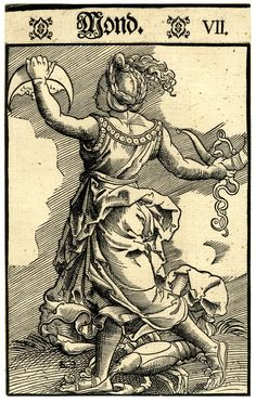 Luna/ the Moon; whole-length female figure, seen from behind; dancing towards l; holding a moon-sickle and a horn in her right hand; at her feet a crayfish representing Cancer; from a series of seven woodcuts.