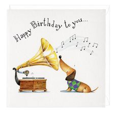 happy birthday you musical dachshund greeting card