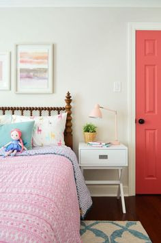 As part of our little girl's room makeover (well, update) we found an antique wooden spool bed online to bring some age to her lovely little bedroom.