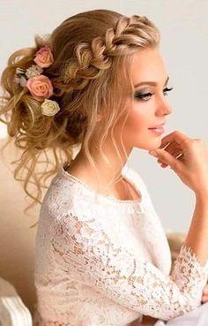 adornos para el cabello peinado en trensa  peinados para el día de la boda