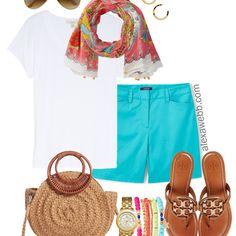 Plus Size Turquoise Shorts Outfit - Plus Size Summer Outfit Idea - alexawebb.com #alexawebb #plussize
