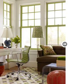 Painting the window sash a fun color in a space like this porch...adds POP!  We can help you find a contractor to get this job done and they never have to enter your home to give you a bid! We put everything they need online! www.homebidsonline.com