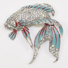 MB Phrygian Boucher Figural Enamel Rhinestone Fighting Fish Pin