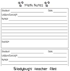 math conference notes -- During math, use this sheet to record observations and create a goal for your students for next time.