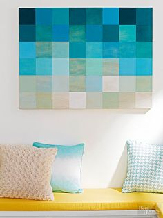 Create large, custom pixel-inspired artwork on the cheap using a simple plywood or medium-density fiberboard (MDF) panel and crafts paint. Sand and clean the wood panel, then use a pencil to mark off a grid of same-size squares. Arrange crafts paint in the same color palette from light to dark.