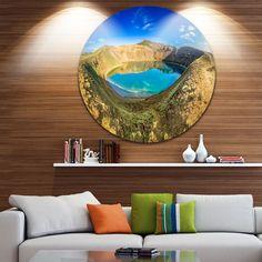 DESIGN ART Designart ' Lake in the Crater of Volcano' Landscape Disc Metal Artwork