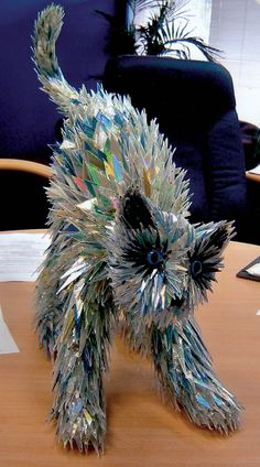 Amazing Animal Sculptures made from shattered CDs