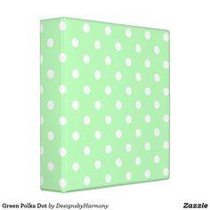 Green Polka Dot 3 Ring Binder