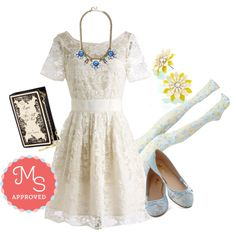 In this outfit: Adrift on a Cloud Dress, Every Now and Gem Necklace, Breezy Rider Earrings, Betsey Johnson Chapter by Chapter Clutch, Floral Pathways Tights, Gossamer Girls Flat in Sky Blue.