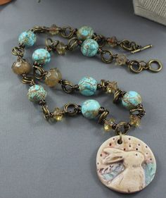 Ceramic Bunny Pendant Necklace with Turquoise and by gettagift