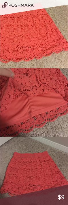 Peachy Orange Lace Mini Skirt Peach/orange/pink color • Lace design • 100% cotton • Stretchy/elastic waist • About 16 inches in length • Gently used • Delusive Skirts Mini