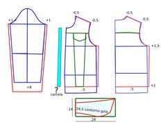 Hoje vou ensinar como aumentar moldes de costura, de modo a facilitar a leitura e interpretação da gradação de moldes. Este processo ensina a aumentar e diminuir os moldes. No blogue existem bases de casaco, vestidos, blusas, calças, largo, semi-largo e justo em diversos tamanhos...