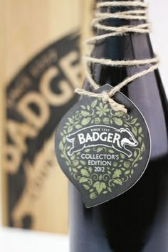 Badger ale bottle swing-tag close-up