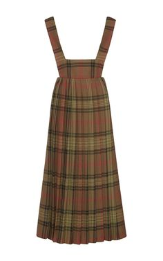 Olive Plaid Pleated Apron Dress  by SUNO for Preorder on Moda Operandi