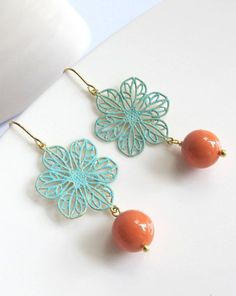 Blue Patina Floral Brass Lace Coral Earrings