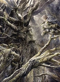 """Treebeard"" by Alan Lee.Watercolour illustration inspired by LOTR by Tolkien Alan Lee, Hr Giger, Gandalf, Legolas, John Howe, Illustration Fantasy, Watercolour Illustration, Illustrator, Tree People"