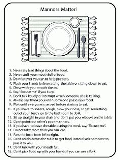 Worksheet Table Manners Worksheet 1000 images about facs table settingetiquette on pinterest billy lai manners