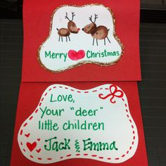 Handmade Christmas cards from the kids at school to give to their parents. Thumbprint Reindeer (reindeer christmas cards for kids) Christmas Gifts For Parents, Merry Christmas Love, Christmas Card Crafts, Preschool Christmas, Toddler Christmas, Handmade Christmas Gifts, Christmas Cards To Make, Christmas Projects, Holiday Crafts