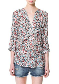 Multicolor Floral Turndown Collar Thin Synthetic Fiber Brouse