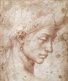 Michelangelo Buonarroti Testa Femminile Di Profilo print for sale. Shop for Michelangelo Buonarroti Testa Femminile Di Profilo painting and frame at discount price, ships in 24 hours. Renaissance Kunst, High Renaissance, Trois Crayons, Michelangelo Paintings, Academic Drawing, Old Master, Western Art, Oeuvre D'art, Painting & Drawing
