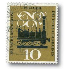 Erste Dampflokomotive Adler - Briefmarke gestempelt, Deutschland