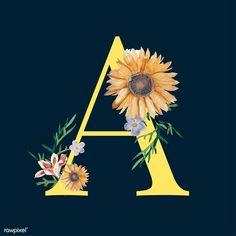 Best Ideas For Flowers Vector Yellow Name Wallpaper, Iphone Wallpaper, Alphabet Wallpaper, Monogram Letters, Letters And Numbers, Flower Alphabet, Sunflower Wallpaper, Garden Illustration, Sunflower Art
