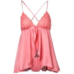 Light pink babydoll vest and briefs ($9.97) ❤ liked on Polyvore featuring intimates, sleepwear, pajamas, lingerie, tops, shirts, nightwear, lace babydoll lingerie, doll pjs and strappy lingerie