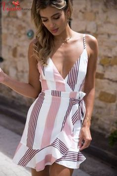 Gaovot 2018 Summer Women Boho Beach Mini Dress Deep V Neck Spaghetti Strap Backless Ruffles Sexy Lace Up Dresses Vestidos S-XL Cute Dresses, Casual Dresses, Casual Outfits, Mini Dresses, Wrap Dresses, Dresses Dresses, Floral Dresses, Short Dresses, Wedding Dresses