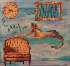 Die Meerjungfrau, der Sessel und die Uhr Collage, My Friend, Friends, Painting, Art, Young Women, Mermaid, Armchair, Sketches