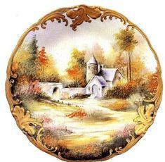 MI BAUL DEL DECOUPAGE: PAISAJES: Vintage Cards, Vintage Postcards, Vintage Images, Painted Trays, Hand Painted, Images D'art, Paper Folding Crafts, Vintage Rosen, Victorian Paintings