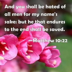 Matthew 10:22 And you shall be hated of all men for my name's sake: but he that endures to the end shall be saved.