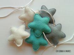 Guirnaldas y gallardetes - Guirnalda de estrellas de fieltro mint - hecho a mano por cosiendoamares en DaWanda
