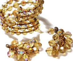 Costume Jewelry Vintage Cluster Bracelet Cluster Earrings Sparkling Amber Clip On wrap Cuff Glass Beads Vintage Jewelry EPSTEAM