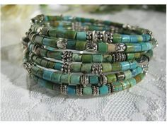Turquoise Heshi and Silver Memory Wire Bracelet by AmalfiBreeze
