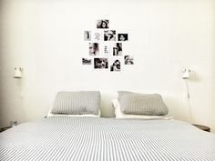 Fotocollage boven bed