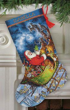 Santa's Flight stocking,70-08923