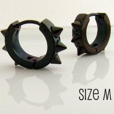 Mens Earrings Black Hoop Huggie  Earrings for Men or by 360Jewels, $21.00