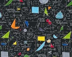 Patchworkstoff SCHOOL, mathematische Formeln und Geometrie, schwarz-gelb-grün